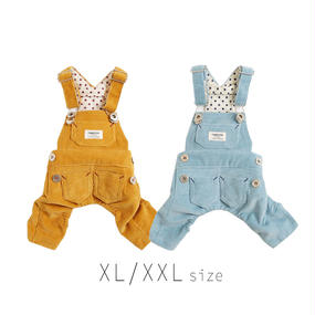 XL-XXL コーデュロイサロペット (Yellow / Blue) TT103028-3