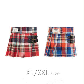XL-XXL チェックプリーツスカート (Red / Orange) TT104030-3