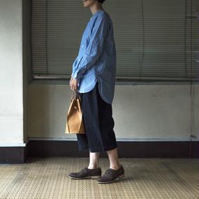 ノーカラーロングシャツ / 長袖