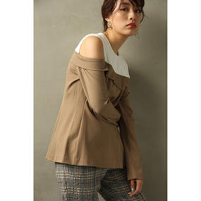 Cut Off Switch Tops (Beige/Gray)(tp196)