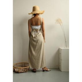 Back Open Linen Apron Dress (Beige/Black) (ds105)