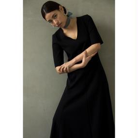 V necked A Line Dress (Black/Orange Grid)(ds074)