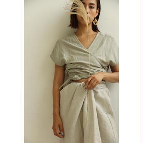Linen Knot Front Skirt (bt184)