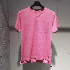 【PAZZO】Vネック ミジンボーダーTシャツ ピンク ×ホワイト