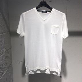 【PAZZO】Vネック ミジンボーダーTシャツ ホワイト