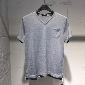 【PAZZO】Vネック ミジンボーダーTシャツ ブラック ×ホワイト