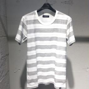【Custom Culture】ジャガードボーダーTシャツ グレー