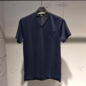 【PAZZO】Vネック ミジンボーダーTシャツ ネイビー×ブラック