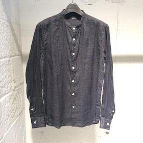 【PAZZO】バンドカラーリネンシャツ ブラック