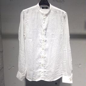 【PAZZO】バンドカラーリネンシャツ ホワイト