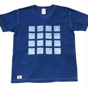本藍抜染(バッセン)チェック柄 手染めTシャツ