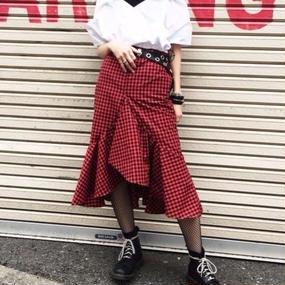 EA5126 ギンガムチェックマーメイドスカート【レッド】