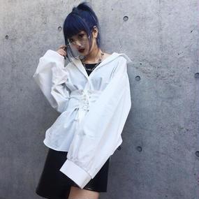 EA5112 ベルト付シャツ  【ホワイト】