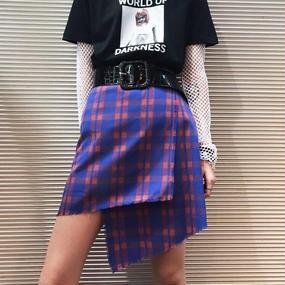 EA0185 チェック巻きスカート【ブルー】