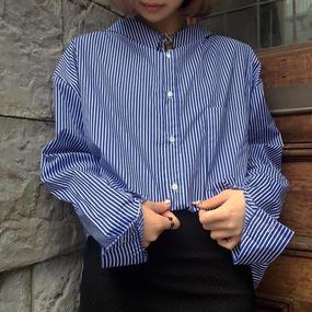 EA0187 フリルシャツ【ストライプ】