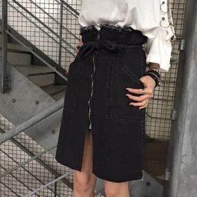EA1706 フロントZIPデニムスカート【ブラック】