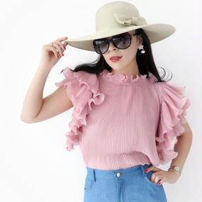 マリリンの風トップス【ピンク】★二の腕スリムライン★