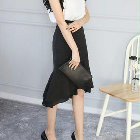 HANAドレープマーメイドスカート【ブラック】