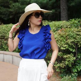 ★カラーテラピーファッション★華フリルショルダーブラウス【宇宙ブルー】