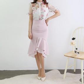 HANAドレープマーメイドスカート【ピンク】