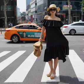 ★サラリシルキータッチ★リリーサマードレス【ブラック】