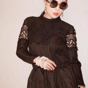 パリで生まれた女史ブラウスワンピース【ブラック】