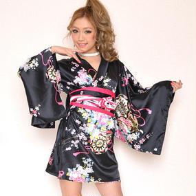サテン和柄豪華花魁ミニ着物ドレス 和柄 衣装 ダンス よさこい 花魁 コスプレ キャバドレス ブラック