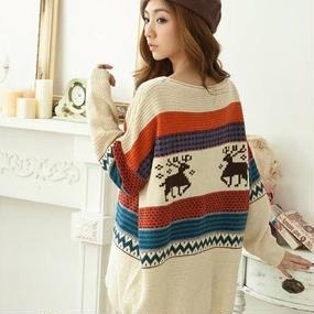 柄編みセーター/トップス オフホワイト