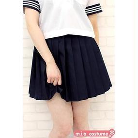 無地プリーツスカート単品 色:紺