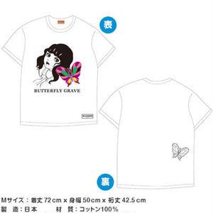 蝶の墓シリーズ 刺繍付きグラフィックTシャツ 白【楳図かずお】