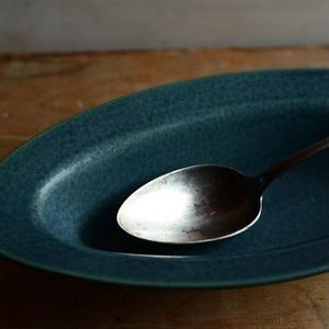村上雄一さん 湖水色耐熱リムオーバルスープ皿(小)