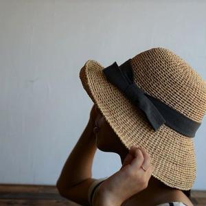 ラフィアの帽子 Babaghuri (リボン太)