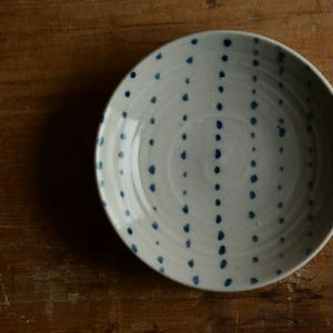 沼田智也さん 染付 3寸皿 豆絞り