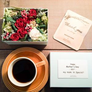 [Flower & Coffee SET]Flower BoxM(RED)+メッセージドリップバック2種5個セット