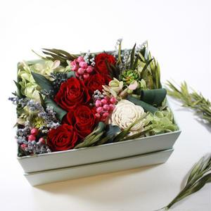 [Flower Box Ⅿsize]RED/プリザーブドフラワー