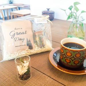 [Flower & Coffee SET]珈琲豆のボトルフラワーS+メッセージドリップバック2種5個セット