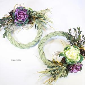 お正月[しめ縄飾り]葉牡丹Aタイプ/カラー2種