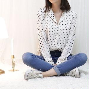 dot chiffon blouse(white/red)