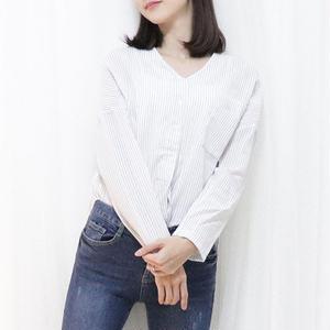 stripe v-neck shirt(pink/blue/black)