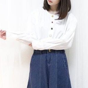 jewelry button blouse(lace/muji)