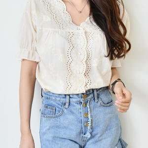 lace puff blouse(beige/ivory/violet)