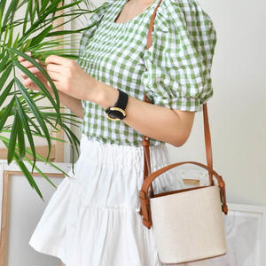candy check blouse(green/violet/black)
