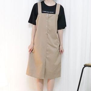button salopette skirt(beige/wine)