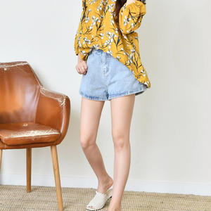 flower printing blouse(yellow/beige)