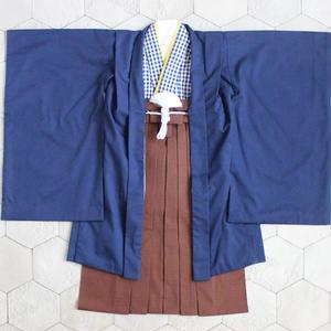 羽織袴セット/紺チェック/5歳