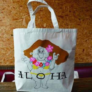 手描きオリジナルBIGトートBAG/ALOHA GIRL