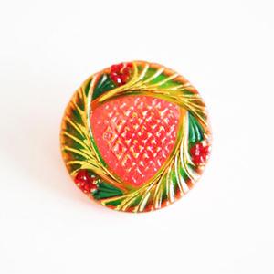 【gb-0026】ビンテージ◆チェコ オレンジのお花チーフガラスボタン
