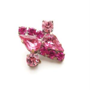 【jb-0023】ビンテージ◆チェコ ピンク系 ラインストーン ジュエリー ガラスボタン ビジュー