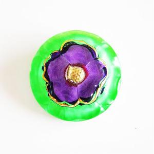 【gb-0024】ビンテージ◆チェコ 紫のお花モチーフガラスボタン