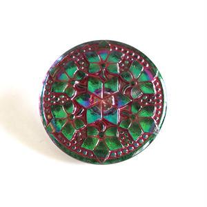 【gb-0028】ビンテージ◆チェコ グリーンのフラワーモチーフガラスボタン